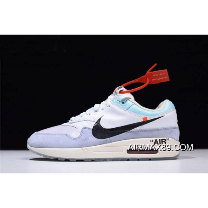 buy cheap 1b9a7 f019d 2020 Free Shipping Men s Off-White X Nike Air Max 1 White Light Blue ...