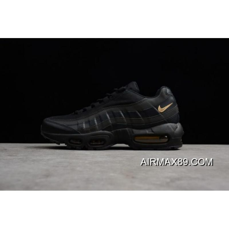 a0c9d3bab72a79 2020 Tax Free Newest Nike Air Max 95 Premium SE Black Metallic Gold 924478-  ...