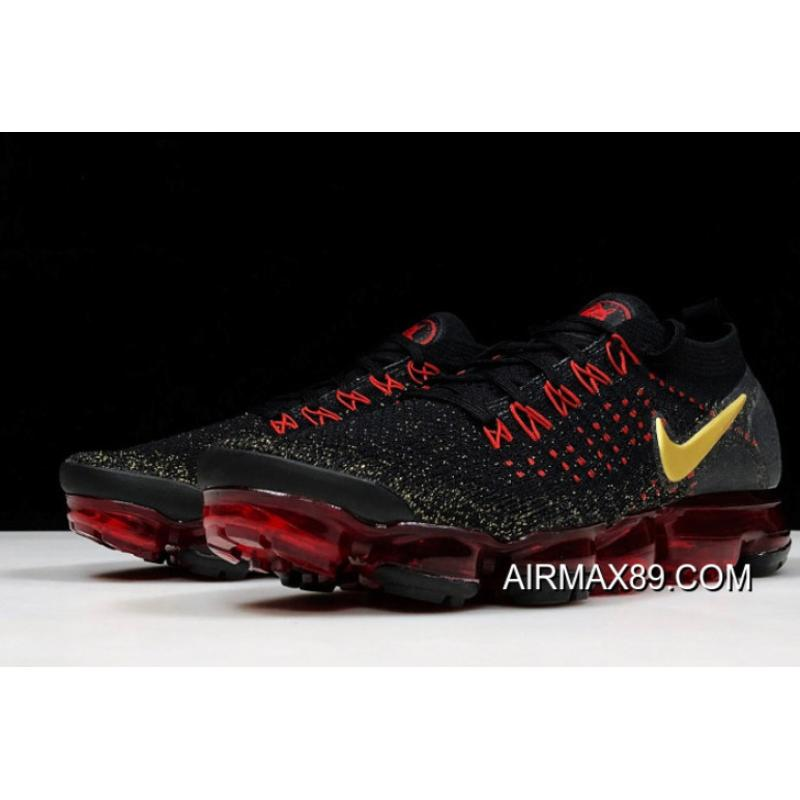"b7644e6547cf60 2020 Big Deals Nike Air VaporMax 2.0 ""Chinese New Year"" Black Metallic  Gold-University Red BQ7036-001"