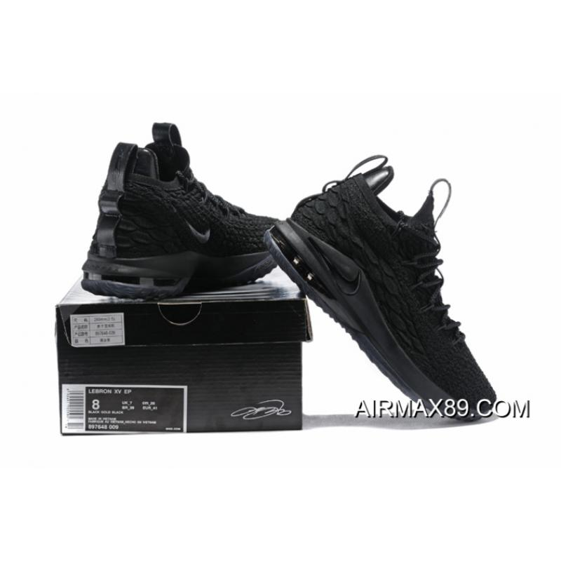 96a25e289c21 free shipping new release nike lebron 15 low triple black mens basketball  shoes 735de 1d6ac