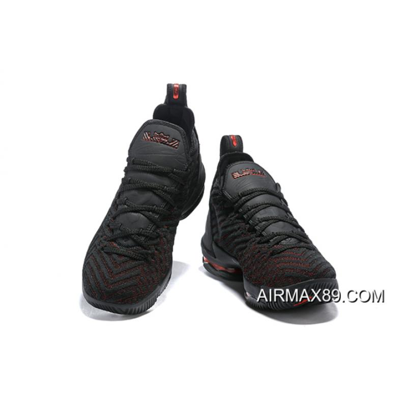 """watch aaf33 b9834 ... Women Men For Sale Nike LeBron 16 """"Bred"""" Black Red Basketball Shoes ..."""