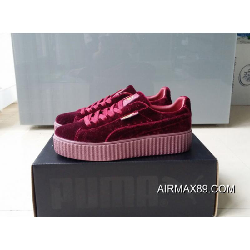 c22a4263eb6 ... Outlet Puma By Rihanna Suede Creepers Burgundy Mens Womens Shoes ...